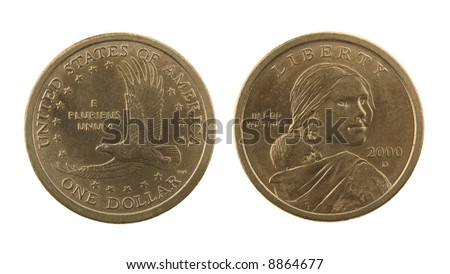US Sacagawea dollar coin isolated on white – obverse and reverse - stock photo