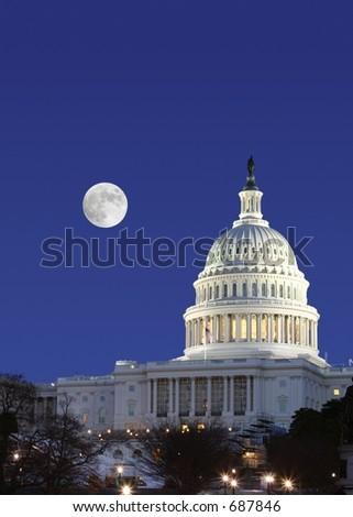 US Senate and Full Moon - stock photo