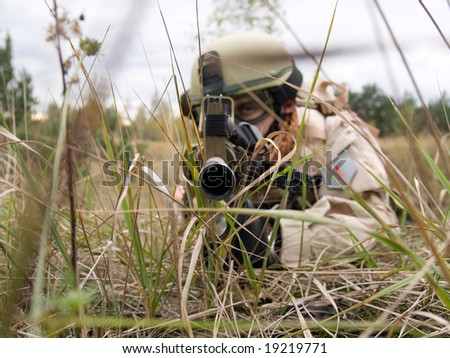 US soldier aiming at you
