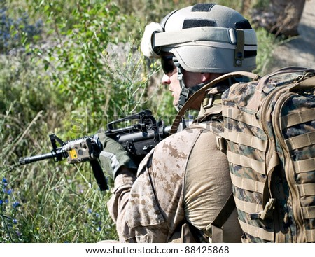 US soldier in action - stock photo