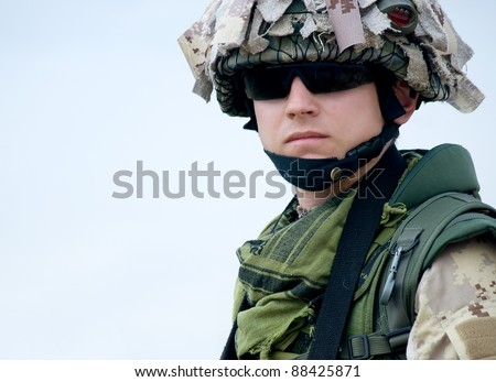 US soldier in desert uniform - stock photo