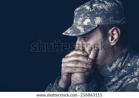US Soldier With PTSD - stock photo