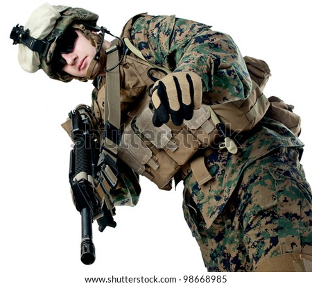 US soldier with rifle - stock photo