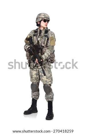 US soldier with rifle isolation on white background