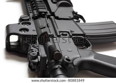 US Spec Ops M4A1 assault carbine close-up on white background. Shallow DOF. Weapon series. - stock photo