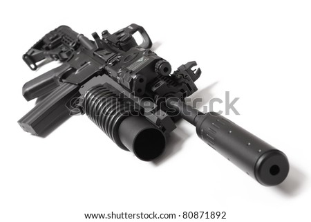 US Spec Ops M4A1 assault carbine with RIS/RAS, grenade launcher, tactical holographic sight, ANPEQ and silencer (sound suppressor). Isolated on a white background. Weapon series. - stock photo