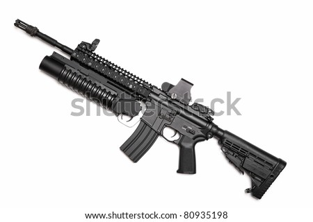 US Spec Ops M4A1 assault rifle with RIS/RAS, grenade launcher and tactical holographic sight. Isolated on a white background. Weapon series. - stock photo