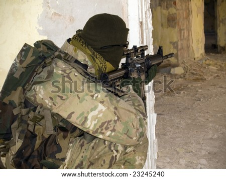 US Special Forces Soldier in combat action. See more military pictures in my gallery - stock photo