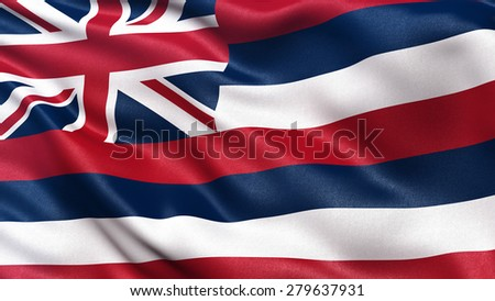 US state flag of Hawaii with great detail waving in the wind. - stock photo