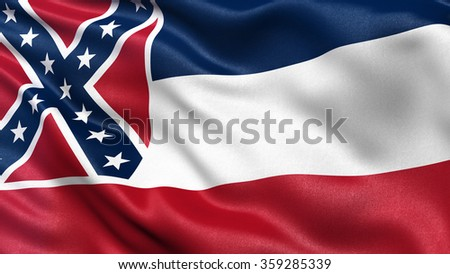 US state flag of Mississippi with great detail waving in the wind. - stock photo