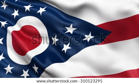 US state flag of Ohio with great detail waving in the wind. - stock photo