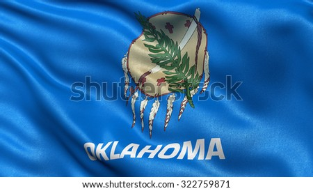 US state flag of Oklahoma waving in the wind with high quality texture - stock photo