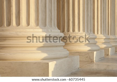 US Supreme Court Architecture Detail. Critical focus on middle pillar. - stock photo