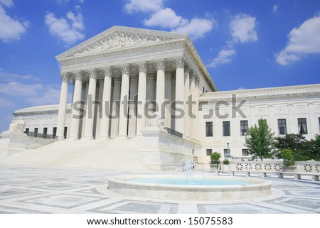 US Supreme Court in Washington DC. Versatile image that could be used to represent politics, power, government, traveling, policy debates, elections, justice, human rights.