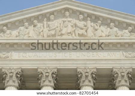 US supreme court portico detail - stock photo