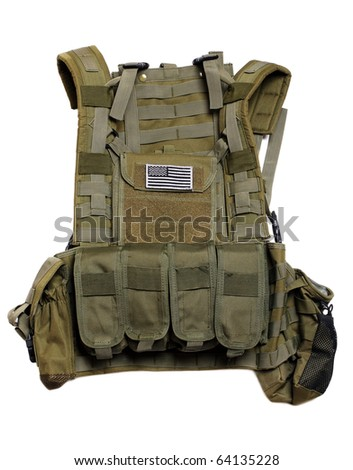 US tactical vest with flag. Isolated on a white background. - stock photo