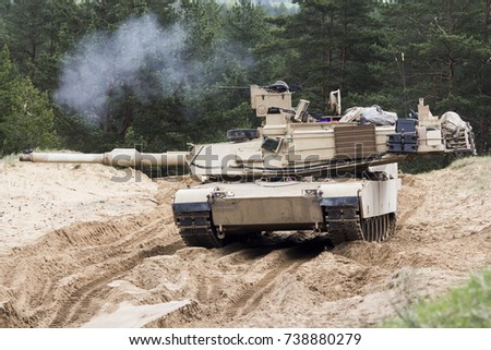 US tank Abrams A1M1 in military polygon