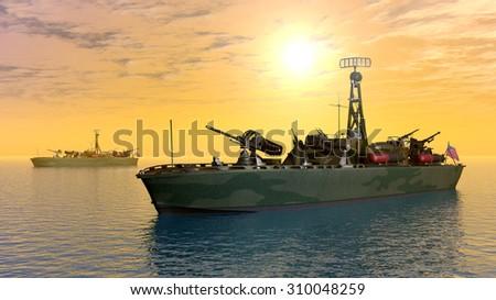 US Torpedo boat of World War II Computer generated 3D illustration - stock photo