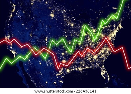 United States Network Night Map Earth Stock Photo - Us map at night