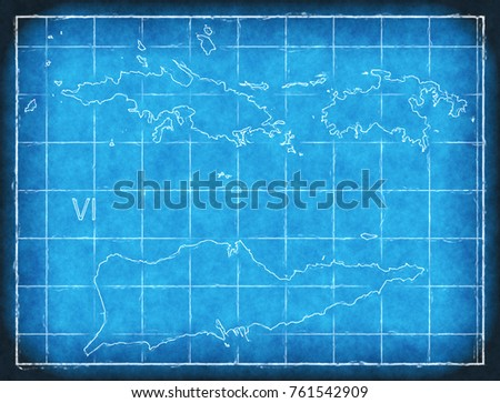 us virgin islands map blue print artwork ilration silhouette