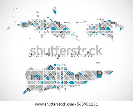 Modern Map Us Virgin Islands Vi Stock Vector Shutterstock - Us virgin islands map outline