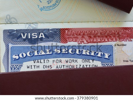 US Visa and Social Security Card - stock photo