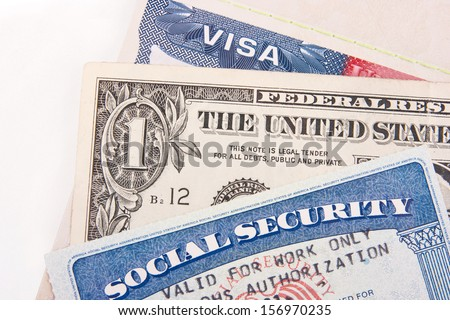 US Visa, One Dollar Bill and Social Security Card - stock photo