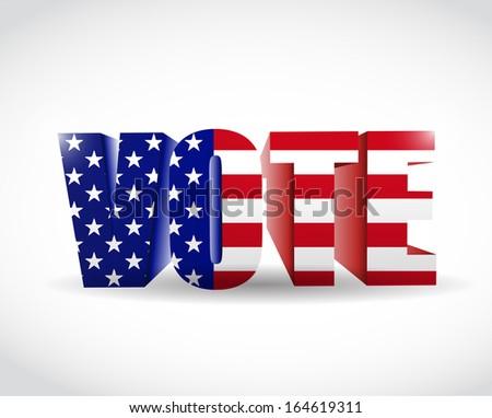 us vote flag sign illustration design over white - stock photo