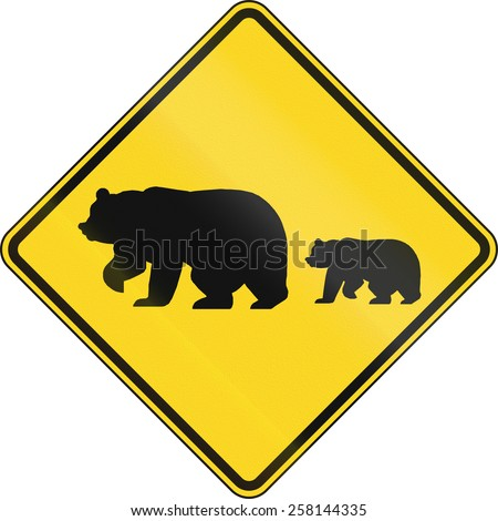 US warning traffic sign: Migrating bears. - stock photo