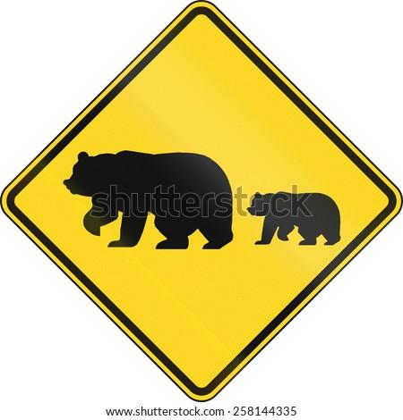 US warning traffic sign: Migrating bears. - stock photo