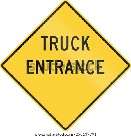 US warning traffic sign: Truck entrance - stock photo