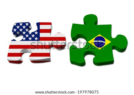 US working with Brazil, Puzzle pieces with the US flag and Brazilian flag isolated over white - stock photo
