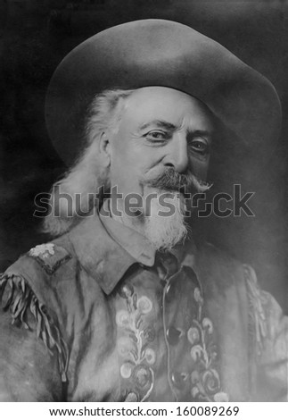 US - Wyoming - CIRCA 1910 A vintage portrait of Buffalo William Bill Cody. CIRCA 1910 - stock photo