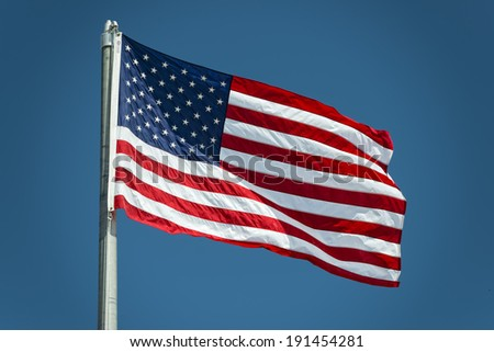 Usa American flag stars and stripes while weaving - stock photo