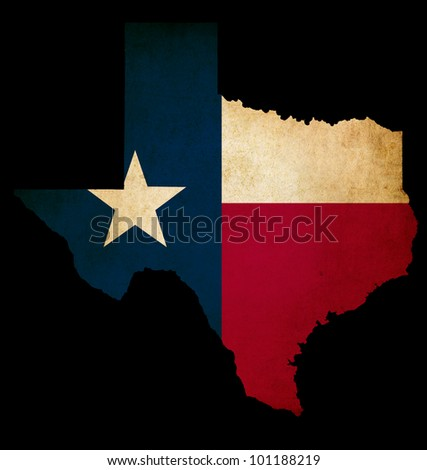 USA American Texas state map outline with grunge effect flag insert - stock photo