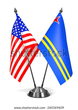 USA and Aruba - Miniature Flags Isolated on White Background. - stock photo