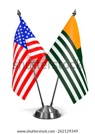 USA and Azad Kashmir - Miniature Flags Isolated on White Background. - stock photo