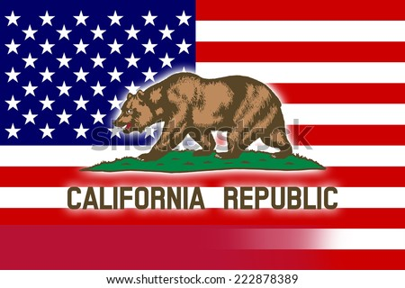USA and California State Flag - stock photo