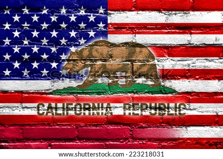 USA and California State Flag painted on brick wall - stock photo