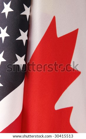 USA and Canada flag portions - stock photo