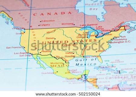 Usa Canada On Colourful Map Stock Photo Royalty Free 502150024