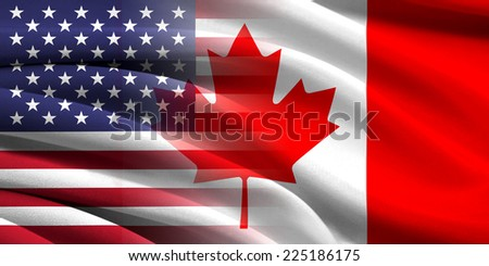 USA and Canada. Relations between two countries. Conceptual image. - stock photo