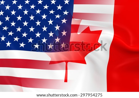 USA and Canadian Relations Concept Image - Flags of the United States of America and Canada Fading Together - stock photo
