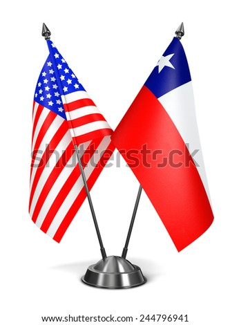 USA and Chile - Miniature Flags Isolated on White Background. - stock photo