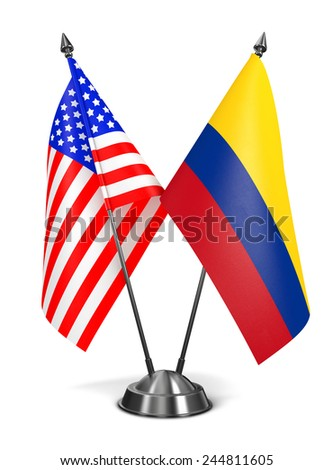 USA and Colombia - Miniature Flags Isolated on White Background. - stock photo