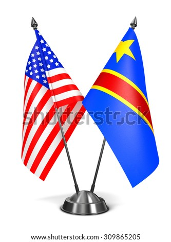 USA and Democratic Republic Congo - Miniature Flags Isolated on White Background. - stock photo
