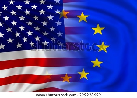 USA and EU flag waving in the wind. High quality illustration. - stock photo