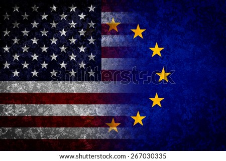 USA and EU flags. Trans Atlantic cooperation conceptual image - stock photo