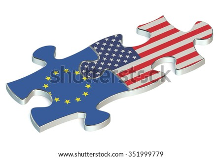 USA and EU puzzles from flags - stock photo