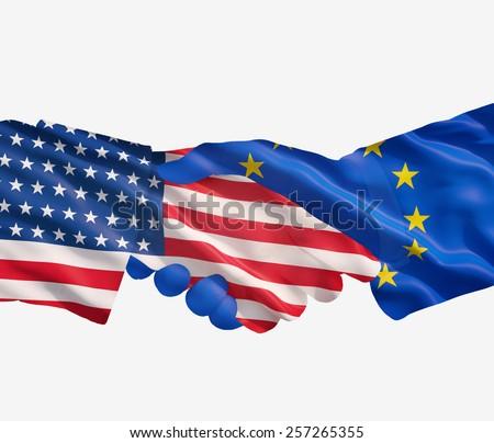 USA and European Union Alliance on white background' - stock photo